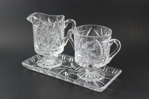 Pinwheel Crystal Large Cream, Sugar and Tray
