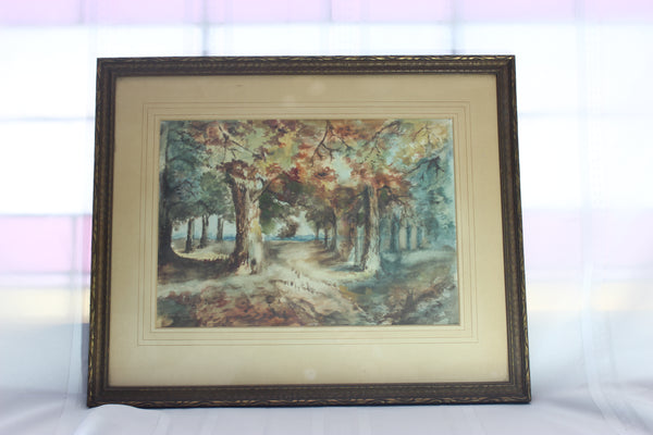 Antique Watercolour, Fall Landscape