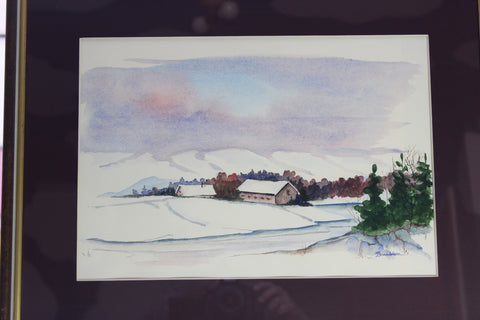 Mary Donaldson Watercolour, Mountain Farm, Norway