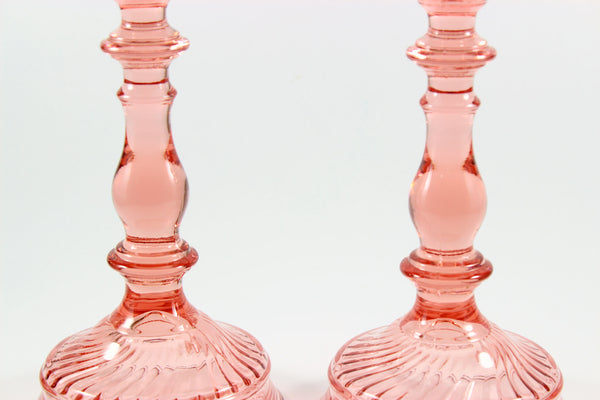 Imperial Twisted Optic Pink Candlesticks