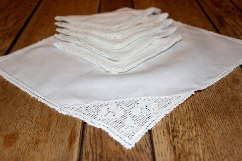 Irish Linen & Lace Tea Napkins