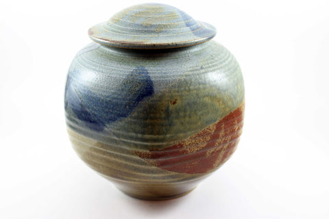 Six Sided Ceramic Jar with Lid