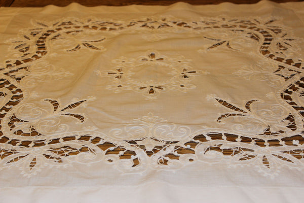 Vintage Linen Cut Work Table Topper