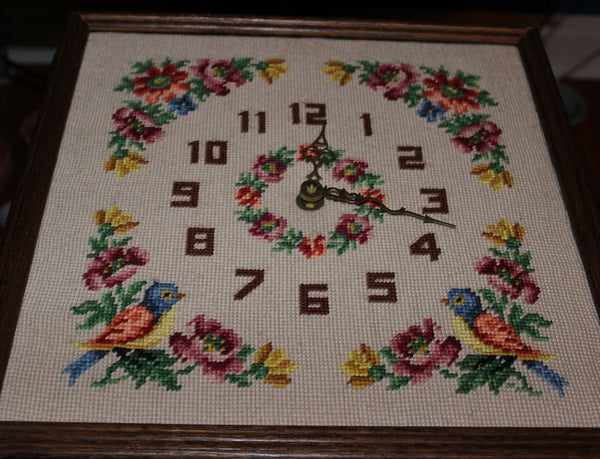 Vintage Needlepoint Floral Clock with Oak Frame