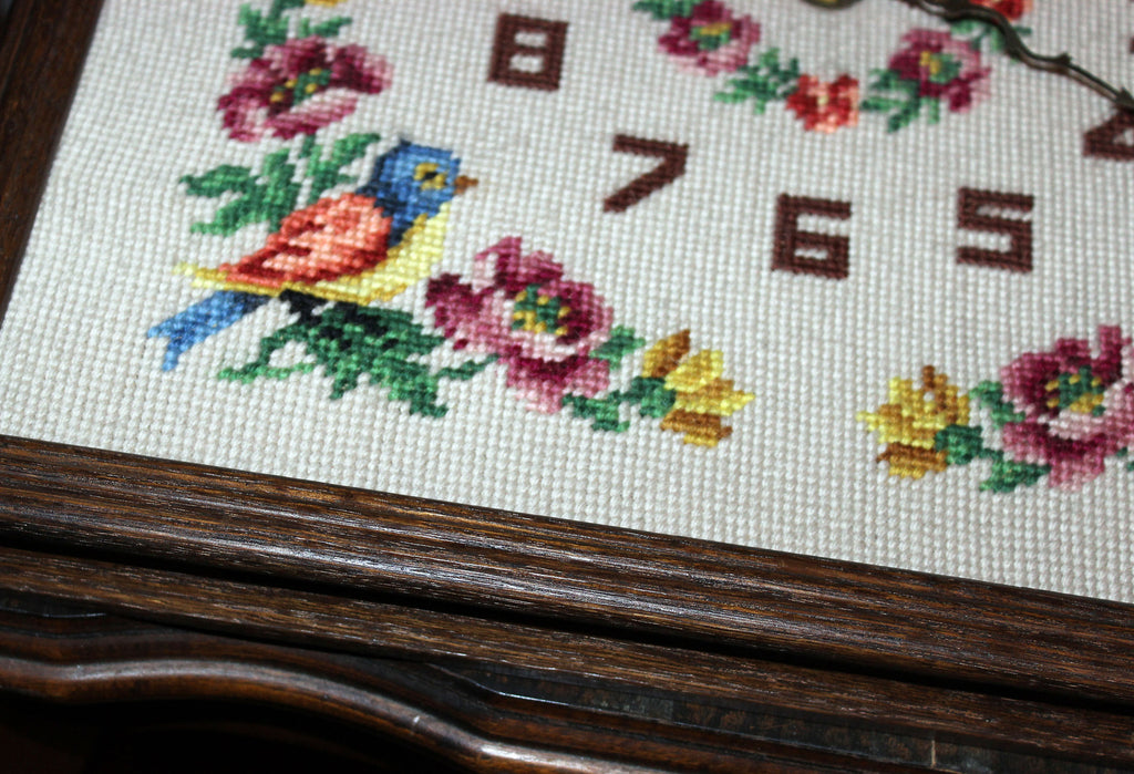 Vintage Needlepoint Floral Clock with Oak Frame – With A Past