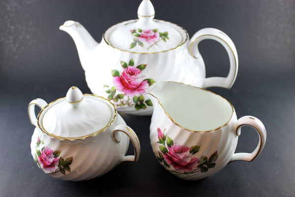Northumbria Carleton Rose Teapot, Cream & Sugar Set