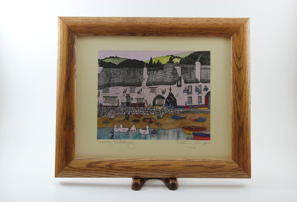 Penny Cox-Signed Print in Oak Frame-George Paddling