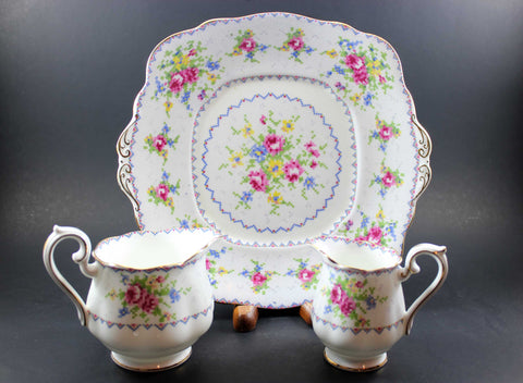Royal Albert Petit Point China - Cake Plate & Creamers