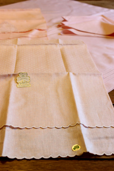 Irish Linen Pink Bridge Set With Tea Towels