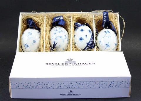 Royal Copenhagen, Blue Fluted Porcelain Easter Eggs (4)