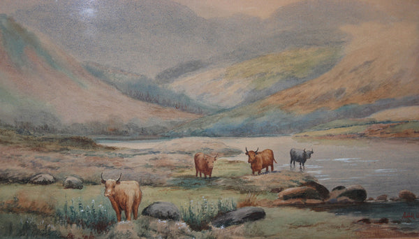 Original Watercolour - Scottish Highlands Landscape with Highland Cattle