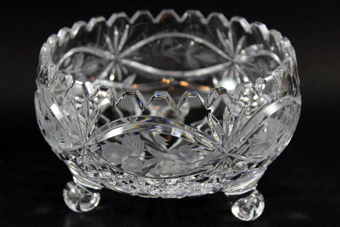 Small Tri-Footed Cut Crystal Bowl