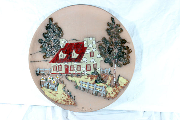 Terracotta Decorative Art Plate Signed Tremblay