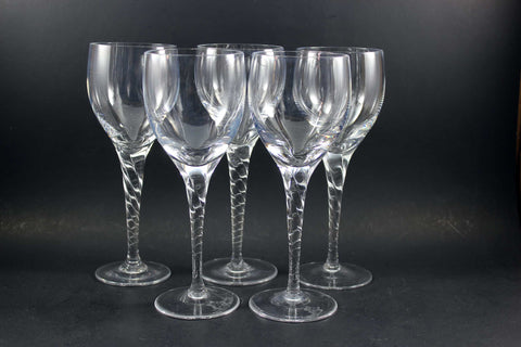 Heavy Crystal Stemware, Twisted Stem Red