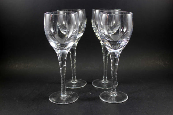 Heavy Crystal Stemware, Twisted Stem, White