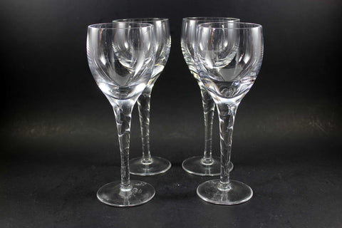 Orrefors Crystal Stemware, Ann Pattern, Twisted Stem, White