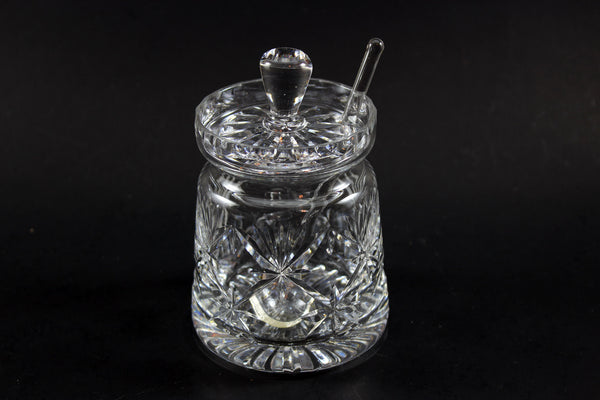 Webb Corbett Crystal, Chantilly Jam Jar with Spoon 1