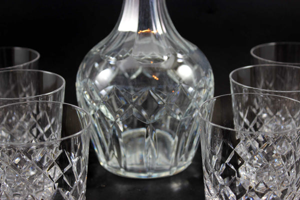 Webb Corbett, Heavy Crystal Decanter and Rocks Glasses (6)