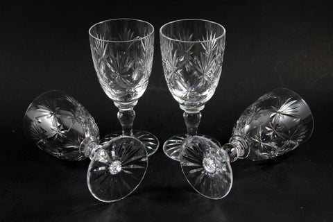 Webb Corbett Crystal, White Wine Glasses, Chantilly