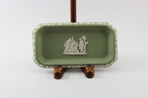 Wedgwood Jasperware Green and White Rectangular Pin Dish