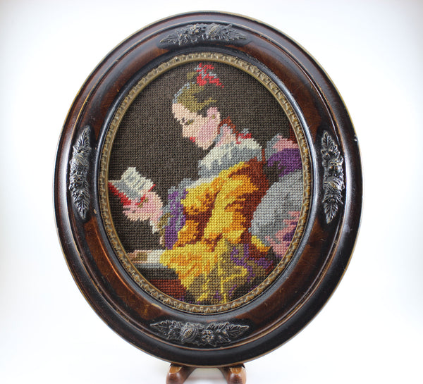 Needlepoint Portrait in Antique look, Oval Frame