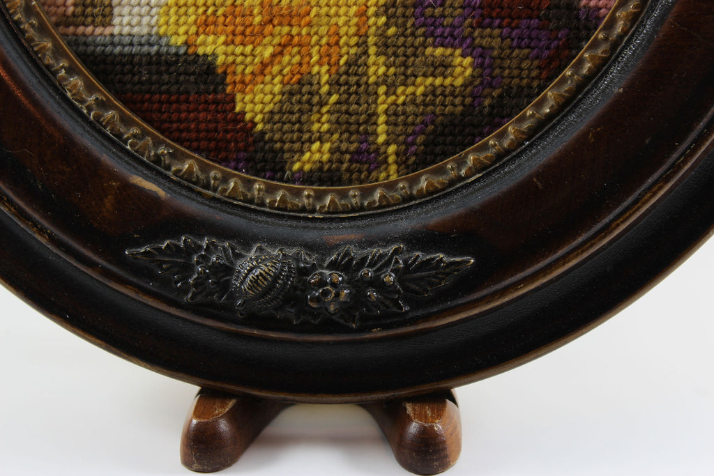 Needlepoint Portrait in Antique look, Oval Frame – With A Past