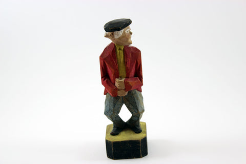 Folk Art Handcarved and Painted Wood Figurine