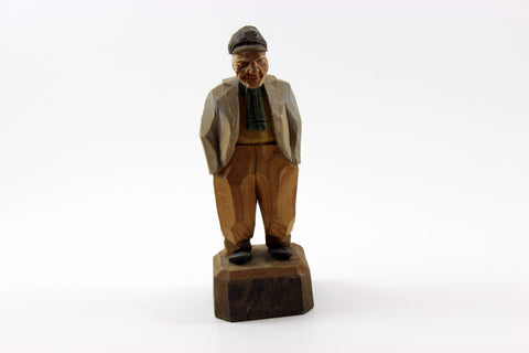 Folk Art Hand-carved, Painted Wood Figurine Older Gentleman