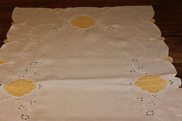 Vintage Cotton Table Runner with Yellow
