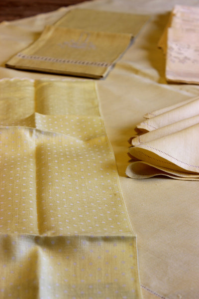 Irish Linen, Soft Yellow Bridge Set with Tea Towels