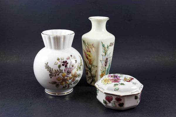 Zsolnay Porcelain, Hand Painted Vases and Trinket Box