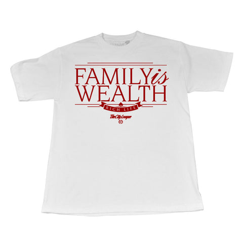 Family is Wealth (Maroon/White Tee)