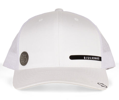 Risk.Reward® Golf Hat with Ball Marker - Smooth White & Black - RISK REWARD GOLF