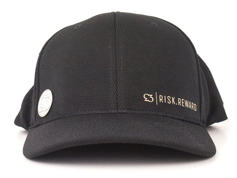 Risk.Reward® Golf Hat with Ball Marker - Basic Black and Camel - RISK REWARD GOLF
