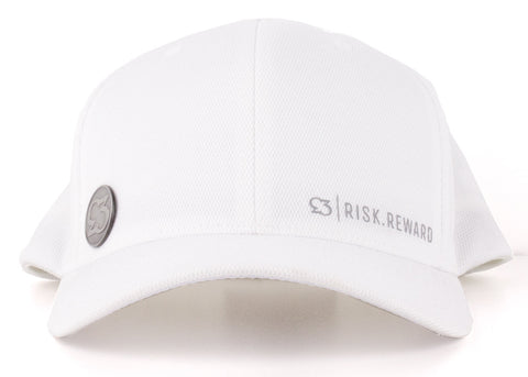 Risk.Reward® Golf Hat with Ball Marker - Basic White and Gray - RISK REWARD GOLF