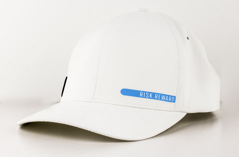 Risk.Reward® Golf Hat with Ball Marker - Smooth White and Blue - RISK REWARD GOLF
