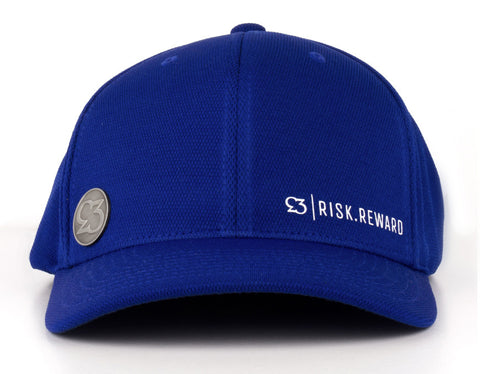 Risk.Reward® Golf Hat with Ball Marker - Basic Royal and White - RISK REWARD GOLF