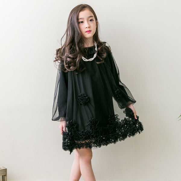 Girl's Maude Lace Dress in black with flower organza