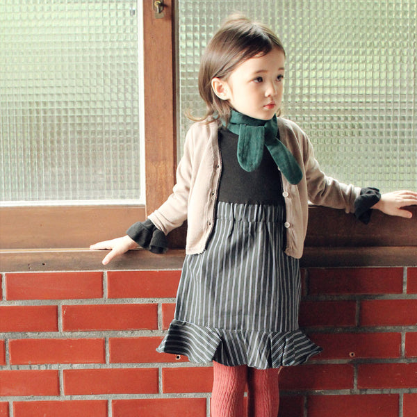 Wendy Stripe Dress in black, girl long sleeve dress