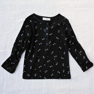Benny Cotton Top, little girls long sleeve top in black