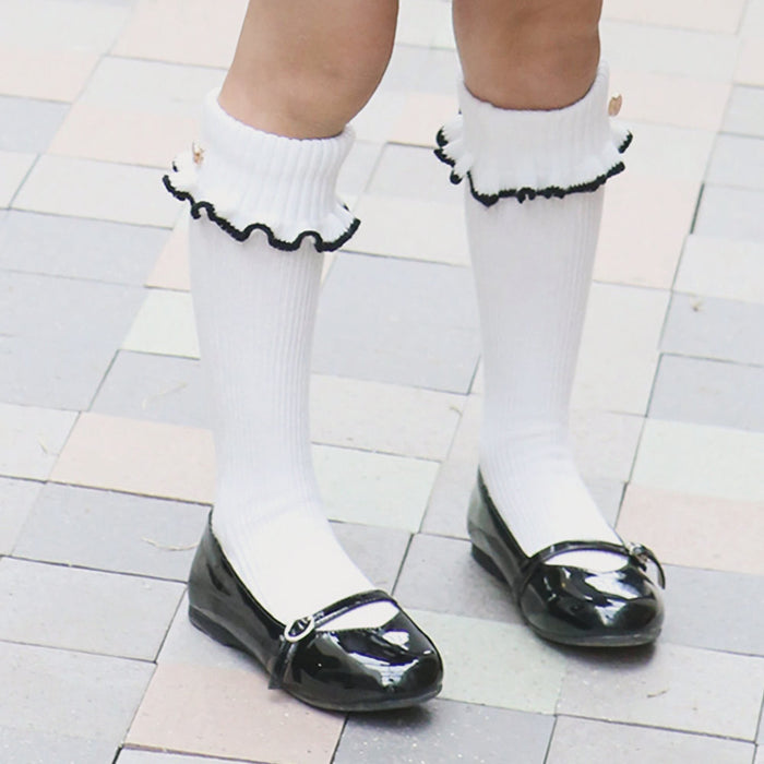 August Knee-High Socks, little girls preppy socks in white