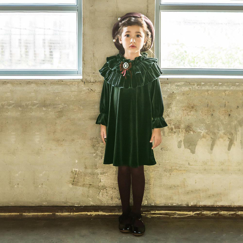 Mira Velvet Dress [GREEN / 4-5 YRS]