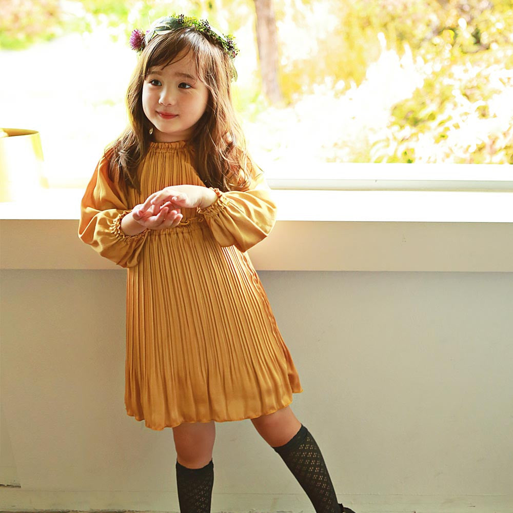 Natasha Pleated Dress in Citrus, girl long sleeve dress