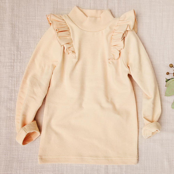 Elise Ruffle Top with turtleneck for little girls
