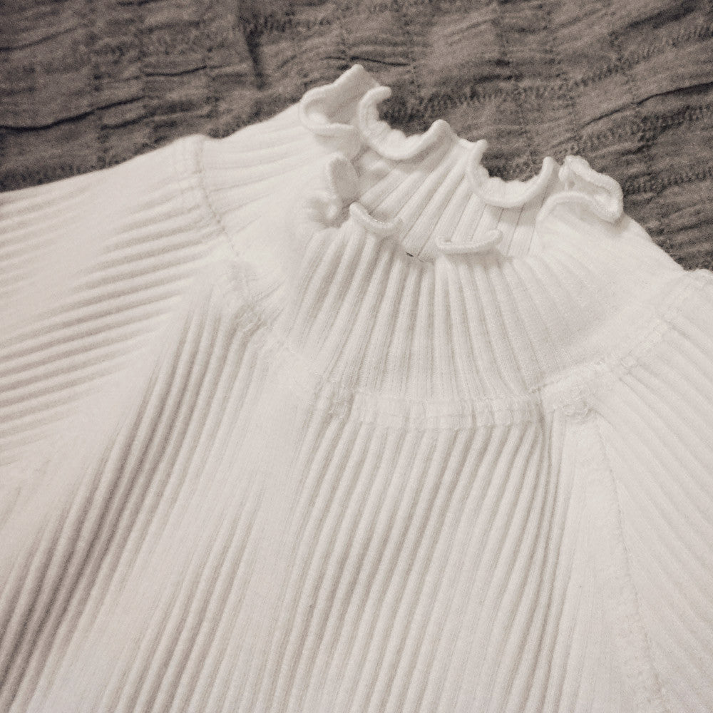 Madeleine Ruffle Top, little girls half turtleneck top in beige