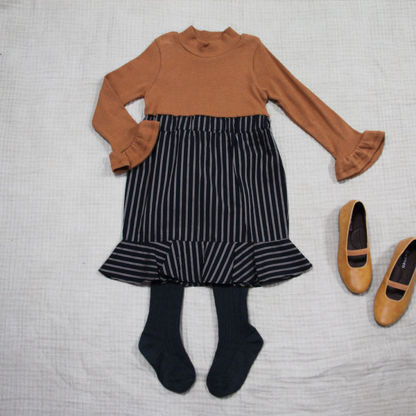 Wendy Stripe Dress in brown, girl long sleeve dress