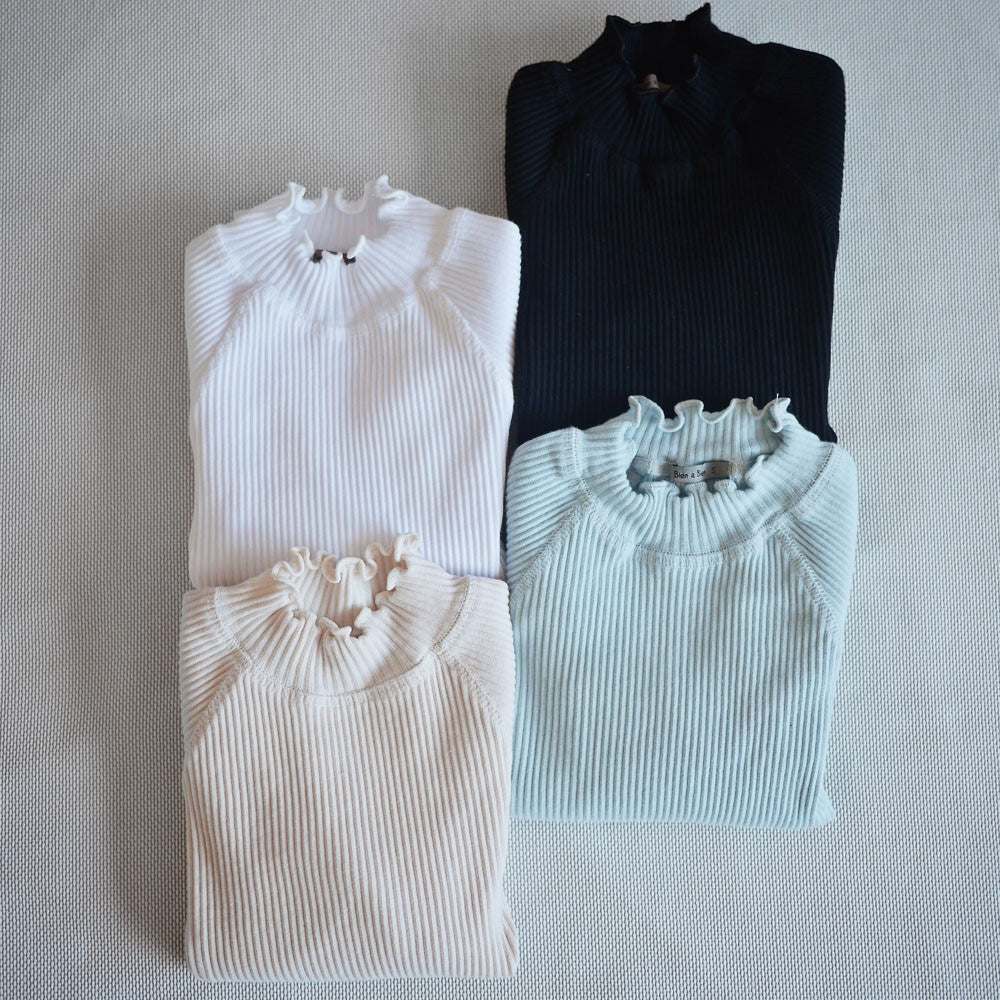 Madeleine Ruffle Top, little girls half turtleneck top