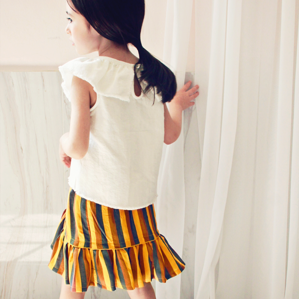 Susie Stripe Skirt - Orange [2-3 YEARS]