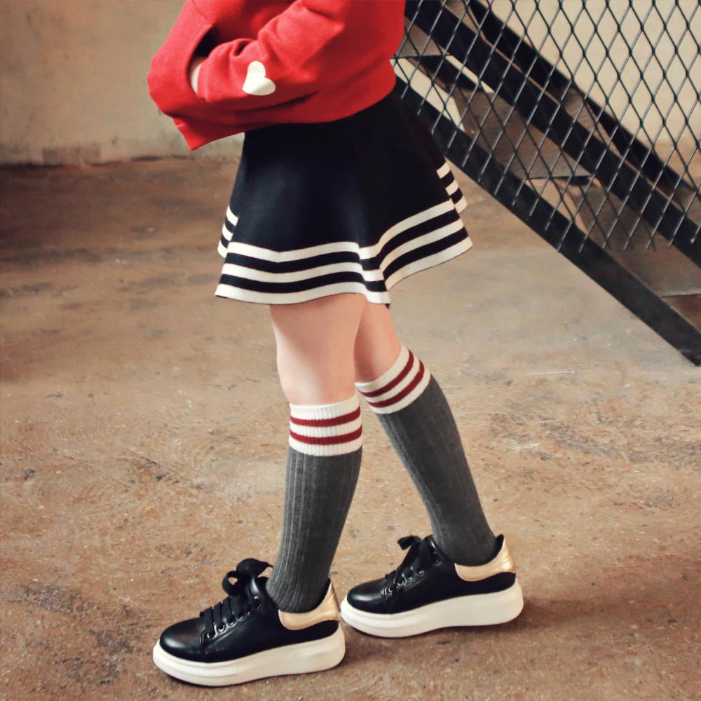 Torrance Knee-High Socks, fall socks for little girls in red