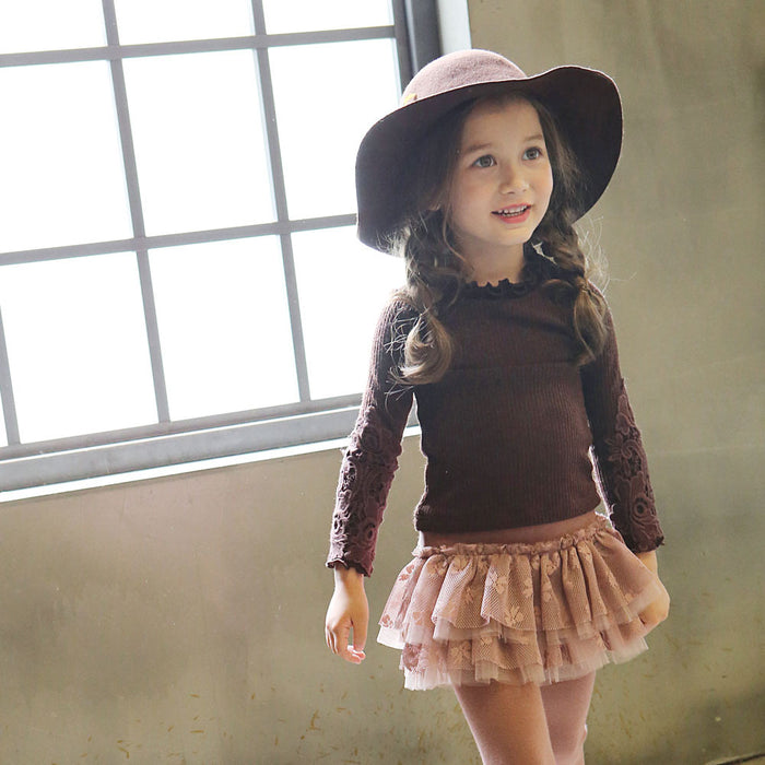 Max Ruffle Top for little girls with floral crochet sleeves